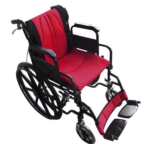 Инвалидна количка 0808480 с възглавници червени за гръб и седалка