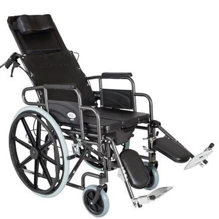 Инвалидна количка легло код 0806062 с тоалетна, 2 в 1 и стъпенки с опора на подбедриците