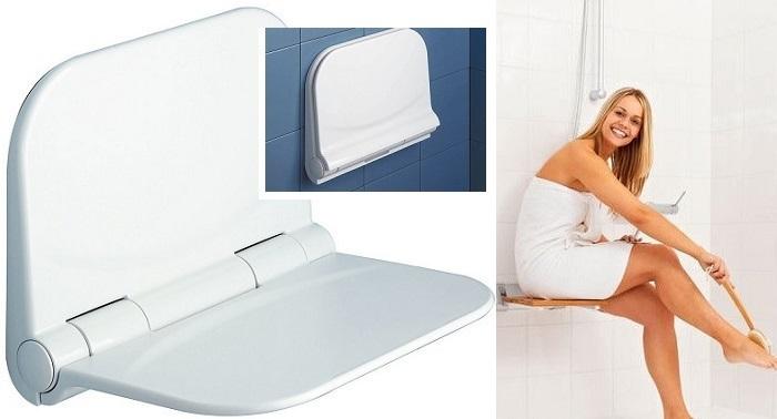Сгъваеми седалки за баня, закрепване към стената