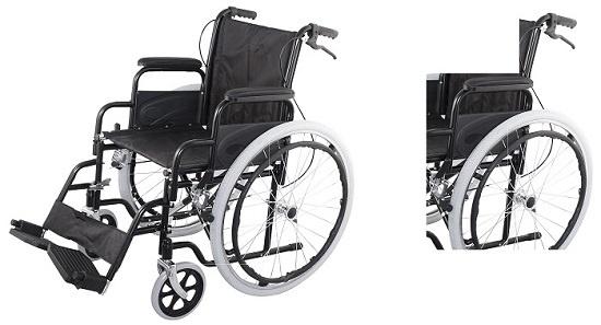 Рингова инвалидна количка с допълнителни ръкохватки за придружителя за задействане на спирачките.
